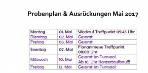 Probenplan Mai 2017