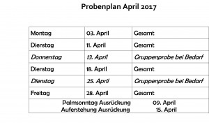 Probenplan April 2017
